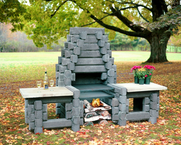 The the mt katahdin precast outdoor fireplaces for Precast concrete outdoor fireplace kits